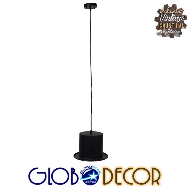 Vintage Κρεμαστό Φωτιστικό Οροφής Μονόφωτο Μαύρο Μεταλλικό Καμπάνα Φ26 GloboStar SHERLOCK 01215 - 2