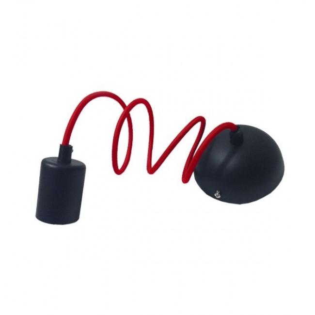 Κρεμαστό Φωτιστικό με Υφασμάτινο Κόκκινο Καλώδιο με Μάυρο Ντουί Ε27 GloboStar 90001