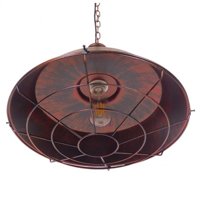 Vintage Industrial Κρεμαστό Φωτιστικό Οροφής Μονόφωτο Καφέ Σκουριά Μεταλλικό Καμπάνα Φ46 GloboStar BARN IRON RUST 01045 - 7