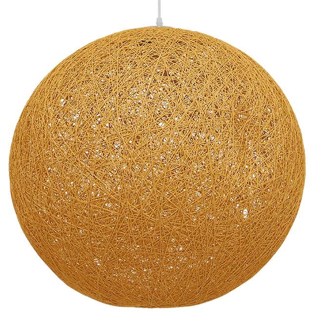 Vintage Κρεμαστό Φωτιστικό Οροφής Μονόφωτο Μπεζ Χρυσό Ξύλινο Ψάθινο Rattan Φ60  LOFT 01361 - 5