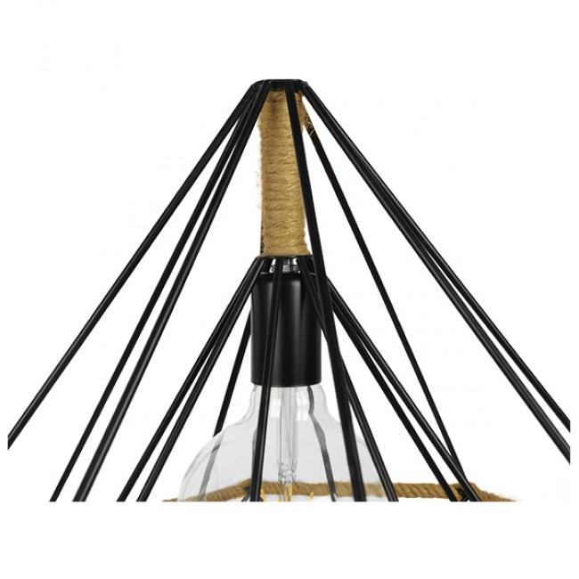 Vintage Κρεμαστό Φωτιστικό Οροφής Μονόφωτο Μαύρο Μεταλλικό με Μπεζ Σχοινί Φ50 GloboStar CONCRETE 01422 - 7
