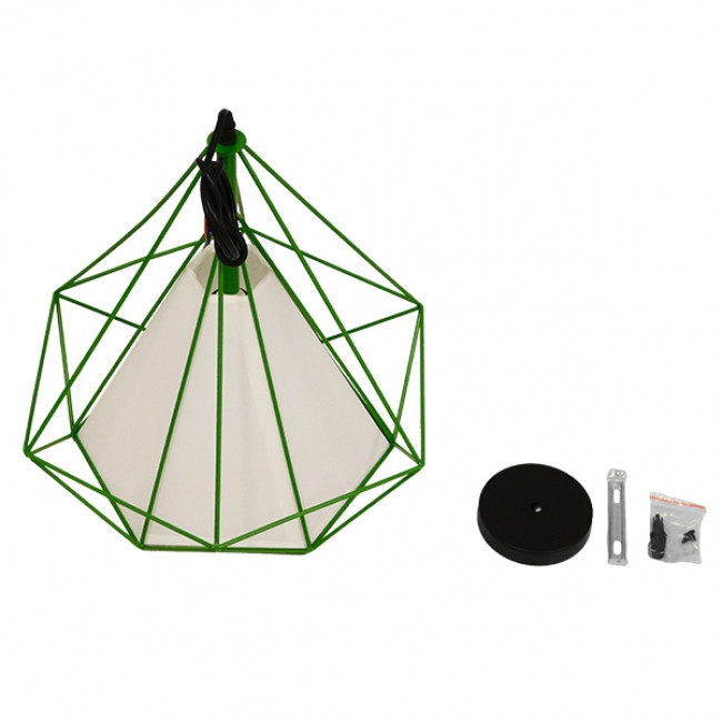 Μοντέρνο Industrial Κρεμαστό Φωτιστικό Οροφής Μονόφωτο Πράσινο με Άσπρο Ύφασμα Μεταλλικό Πλέγμα Φ38  KAIRI GREEN 01622 - 8