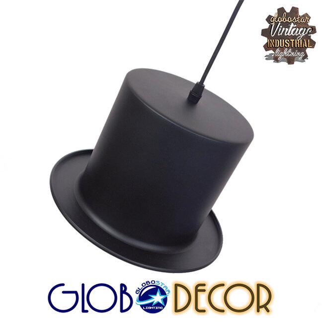 Vintage Κρεμαστό Φωτιστικό Οροφής Μονόφωτο Μαύρο Μεταλλικό Καμπάνα Φ26 GloboStar SHERLOCK 01215 - 3