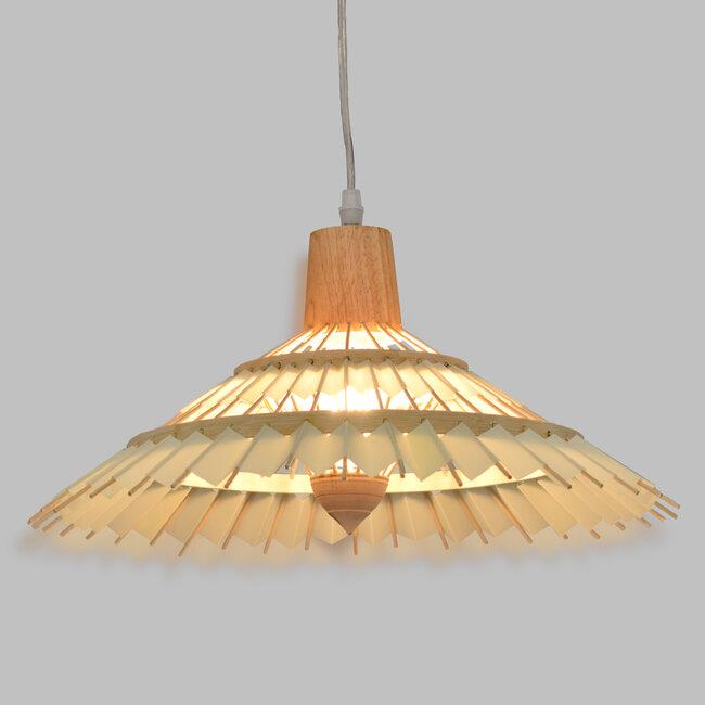 VENTALIA 00897 Vintage Κρεμαστό Φωτιστικό Οροφής Μονόφωτο Μπεζ Ξύλινο Bamboo Φ40 x Y22cm - 2