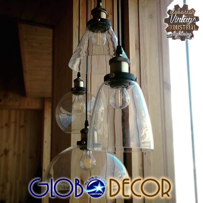 Vintage Κρεμαστό Φωτιστικό Οροφής Μονόφωτο Γυάλινο Καμπάνα Φ18  CONE 01169 - 10