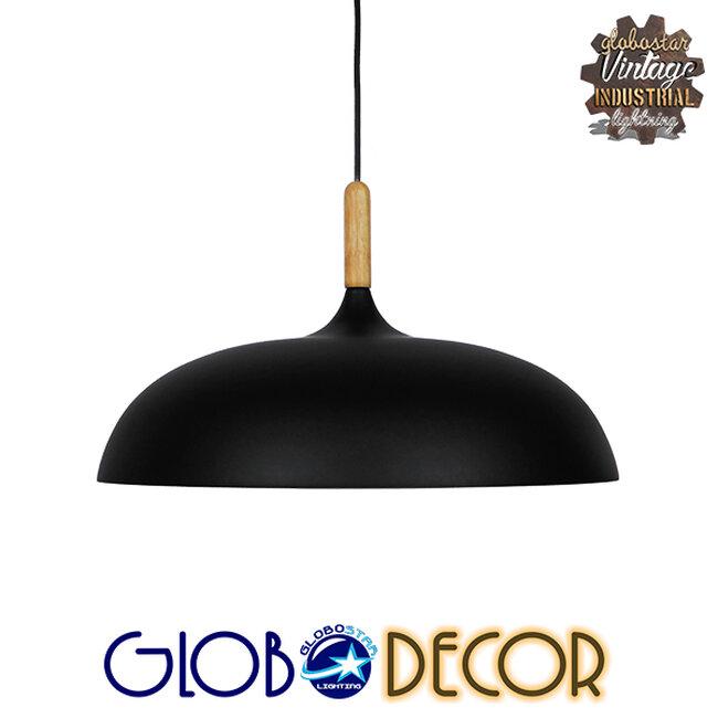 Μοντέρνο Κρεμαστό Φωτιστικό Οροφής Μονόφωτο Μαύρο Μεταλλικό Καμπάνα Φ45  VALLETE BLACK 01258 - 1
