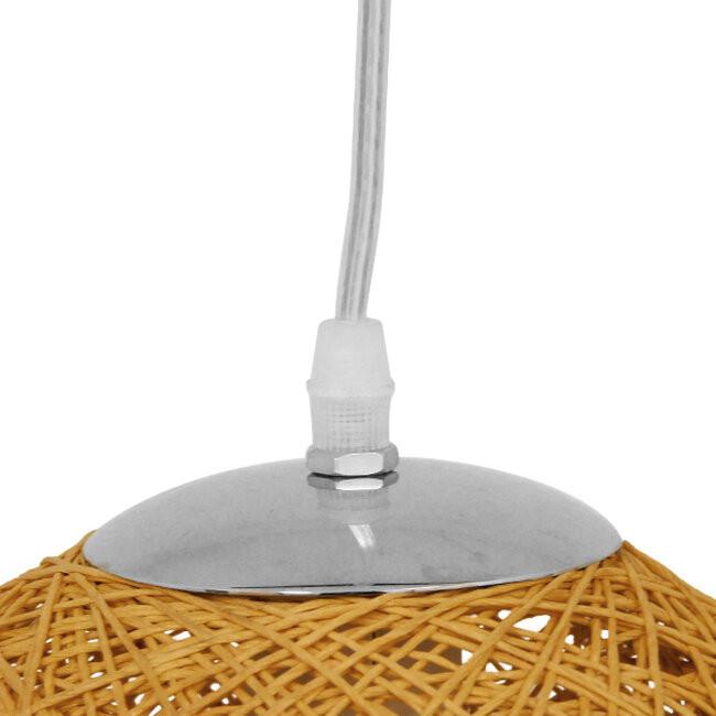 Vintage Κρεμαστό Φωτιστικό Οροφής Μονόφωτο Μπεζ Ξύλινο Ψάθινο Rattan Φ20 GloboStar RA 01200 - 6