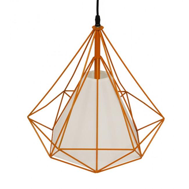 Μοντέρνο Industrial Κρεμαστό Φωτιστικό Οροφής Μονόφωτο Πορτοκαλί με Άσπρο Ύφασμα Μεταλλικό Πλέγμα Φ38  KAIRI ORANGE 01621 - 5