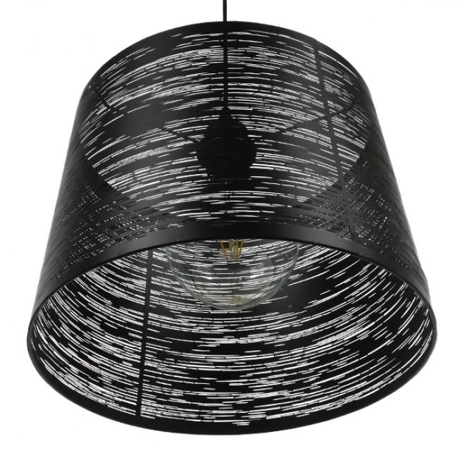 Μοντέρνο Industrial Κρεμαστό Φωτιστικό Οροφής Μονόφωτο Μεταλλικό Μαύρο Καμπάνα Φ35 GloboStar ATLANTIS 01556 - 7