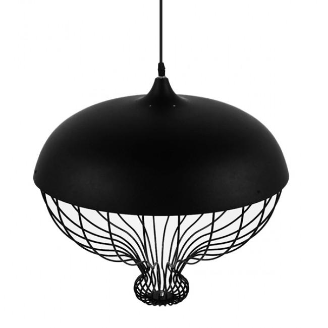 Vintage Κρεμαστό Φωτιστικό Οροφής Μονόφωτο Μαύρο Μεταλλικό Πλέγμα Φ46 GloboStar SOBRINO 01108 - 6
