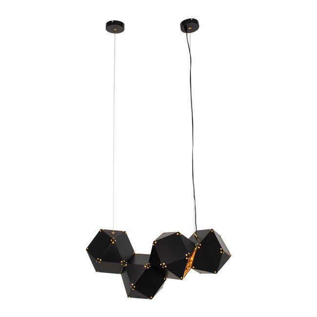WELLES Replica 00796 Μοντέρνο Κρεμαστό Φωτιστικό Οροφής Πολύφωτο Μεταλλικό Μαύρο Χρυσό Μ68 x Π32 x Υ30cm - 3