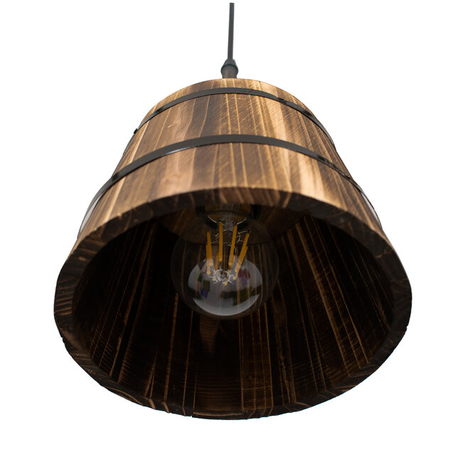 CEBU 00888 ΣΕΤ Vintage Κρεμαστό Φωτιστικό Οροφής Τρίφωτο Μεταλλικό Ξύλινο Φ40 x Y210cm - 9