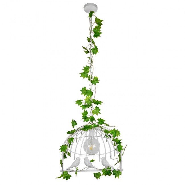 Vintage Industrial Κρεμαστό Φωτιστικό Οροφής Μονόφωτο Λευκό Μεταλλικό Πλέγμα GloboStar DAFNE 01641 - 2