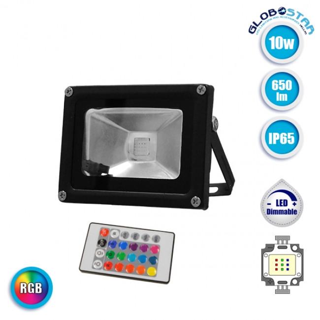 Προβολέας LED 10 Watt  230 Volt RGB με Ασύρματο Χειριστήριο GloboStar 62001 - 1