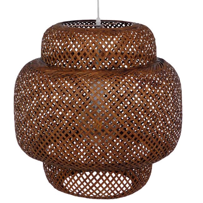 Vintage Κρεμαστό Φωτιστικό Οροφής Μονόφωτο Καφέ Σκούρο Ξύλινο Bamboo Φ56  MALVIDES DARK BROWN 01658 - 5