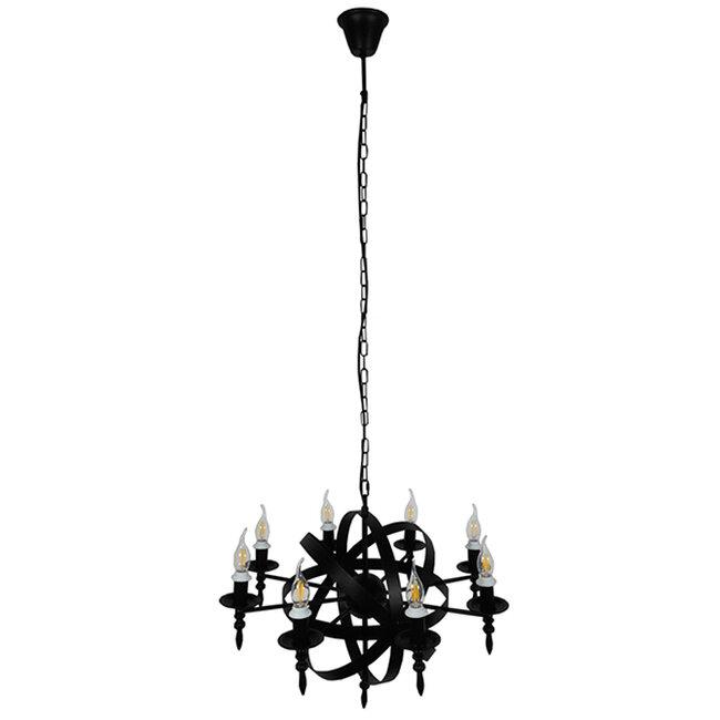 Vintage Industrial Κρεμαστό Φωτιστικό Οροφής Πολύφωτο Μαύρο Μεταλλικό Πολυέλαιος Φ65  ESTELLE 01003 - 2