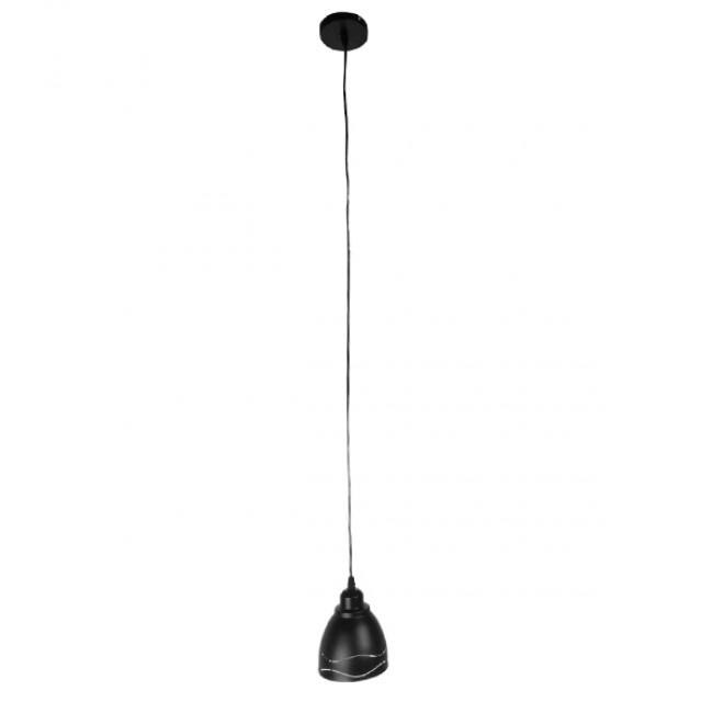 Μοντέρνο Κρεμαστό Φωτιστικό Οροφής Μονόφωτο Μεταλλικό Μαύρο Λευκό Καμπάνα Φ13  LAGUNA 01477 - 2