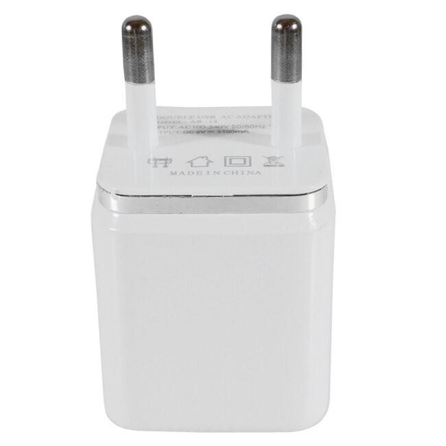 Φορτιστής USB 2 Θέσεων Wall Adapter 2.1A & 1A 5V DC Λευκός με Χρώμιο GloboStar 69996 - 3