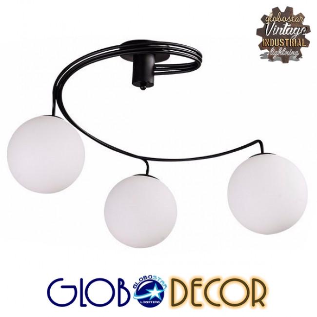 Μοντέρνο Φωτιστικό Οροφής Τρίφωτο Μαύρο Μεταλλικό με Λευκό Γυαλί Φ60 GloboStar SELINA 01089 - 2