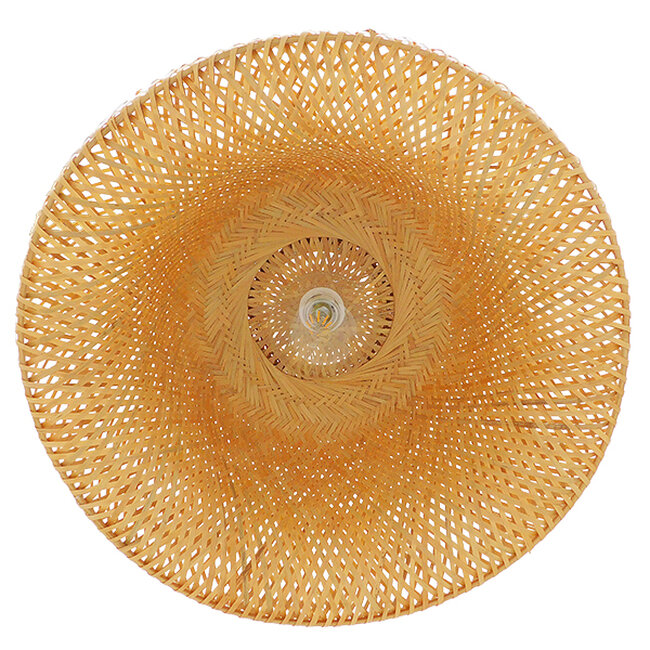 Vintage Κρεμαστό Φωτιστικό Οροφής Μονόφωτο Καφέ Ξύλινο Bamboo Φ60  BERMUDA 01627 - 8