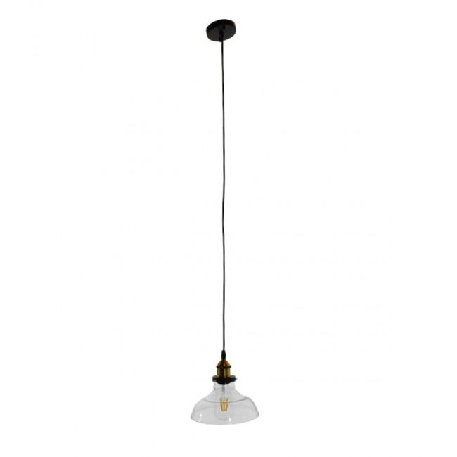 Vintage Κρεμαστό Φωτιστικό Οροφής Μονόφωτο Γυάλινο Καμπάνα Φ20 GloboStar BINGLEY 01075 - 2
