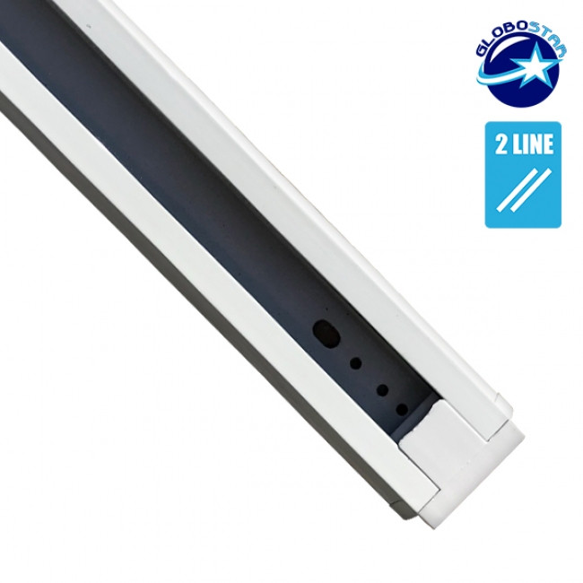 Μονοφασική Ράγα 2 Καλωδίων 1 Μέτρο Λευκή για Φωτιστικά Ράγας GloboStar 93018 - 3