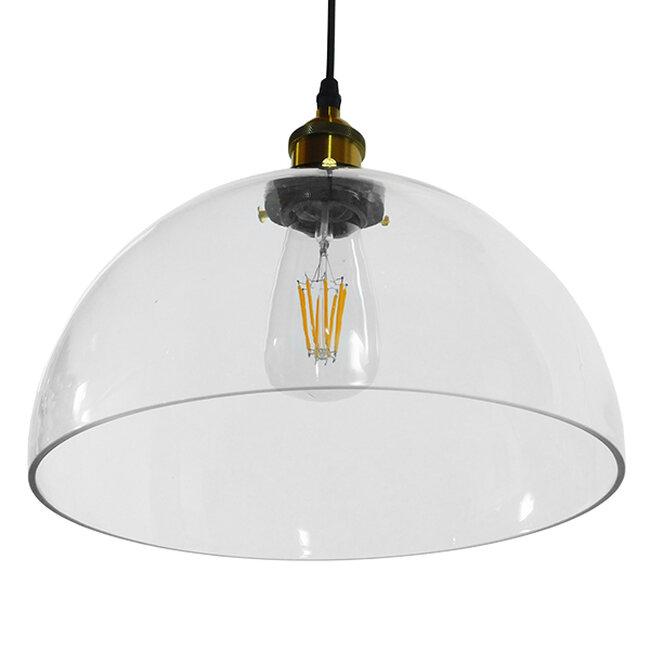 Vintage Κρεμαστό Φωτιστικό Οροφής Μονόφωτο Γυάλινο Καμπάνα Φ30 GloboStar DARCY 01171 - 6