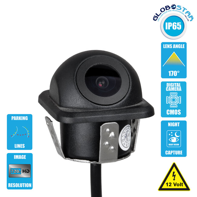 86020 Αδιάβροχη Χωνευτή Έγχρωμη Κάμερα Οπισθοπορείας Αυτοκινήτου 1080p HD CMOS Signal With Moving Parking Lines IP68
