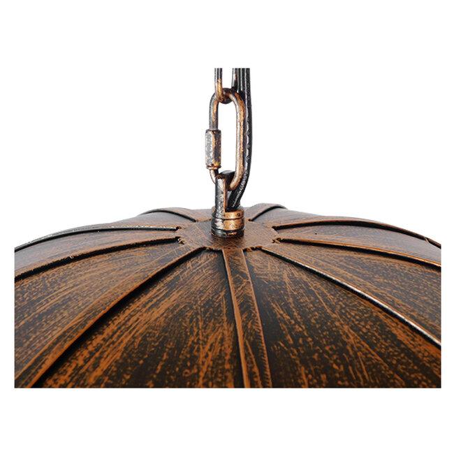 Vintage Industrial Κρεμαστό Φωτιστικό Οροφής Πολύφωτο Μαύρο Καφέ Σκουριά Μεταλλικό Φ58  UMBRELLA BLACK 01406 - 8