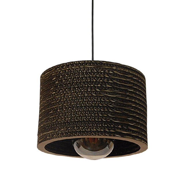 Vintage Κρεμαστό Φωτιστικό Οροφής Μονόφωτο 3D από Επεξεργασμένο Σκληρό Καφέ Χαρτόνι Καμπάνα Φ30 GloboStar PAROS 01290 - 3