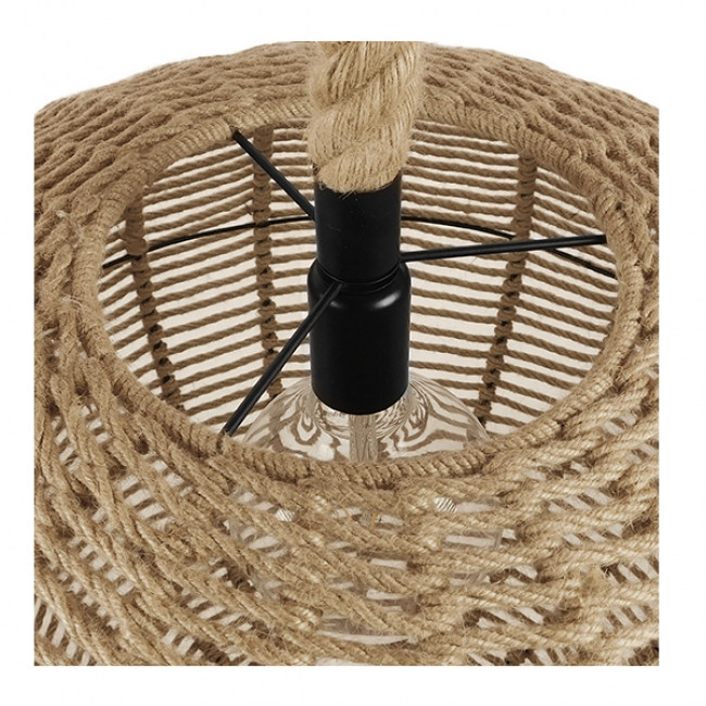 Vintage Κρεμαστό Φωτιστικό Οροφής Μονόφωτο Πλέγμα με Μπεζ Σχοινί Φ60 GloboStar LITTON 01593 - 6