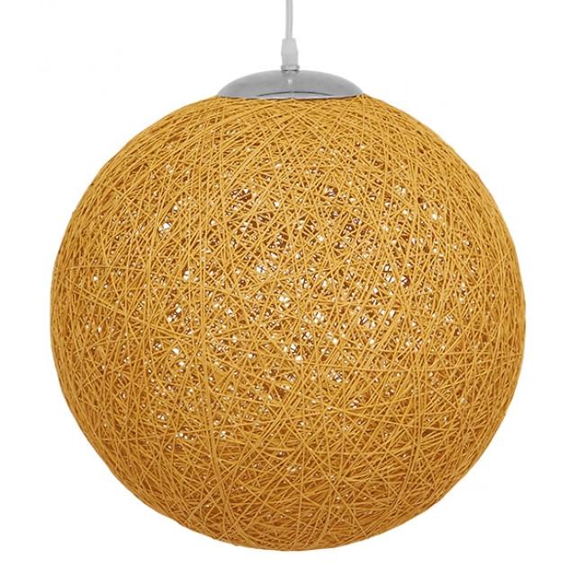 Vintage Κρεμαστό Φωτιστικό Οροφής Μονόφωτο Μπεζ Χρυσό Ξύλινο Ψάθινο Rattan Φ40 GloboStar WOTAN 01357 - 3