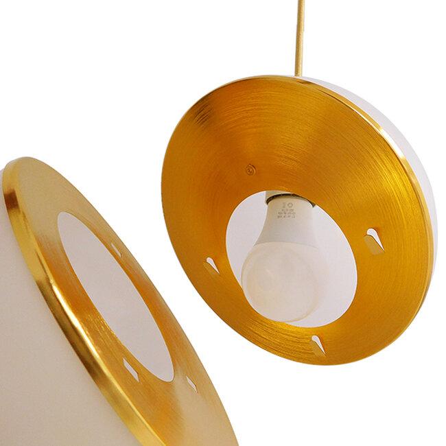 Μοντέρνο Κρεμαστό Φωτιστικό Οροφής Μονόφωτο Λευκό με Χρυσό Φ20  HUDSON 01554 - 7