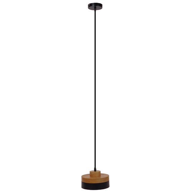 Μοντέρνο Κρεμαστό Φωτιστικό Οροφής Μονόφωτο Μαύρο Μεταλλικό με Φυσικό Ξύλο Καμπάνα Φ18  RUHIEL 01233 - 2