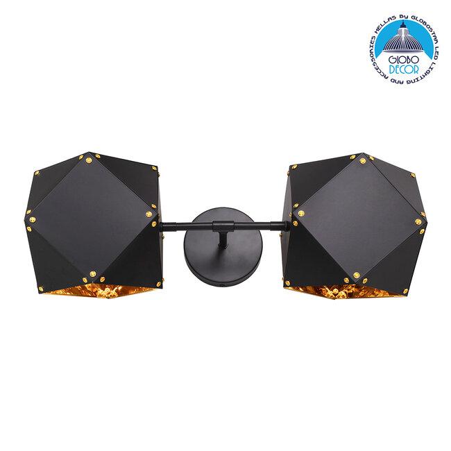 WELLES Replica 00795 Μοντέρνο Φωτιστικό Τοίχου Απλίκα Δίφωτο Μεταλλικό Μαύρο Χρυσό Μ52 x Π21 x Υ17cm - 1