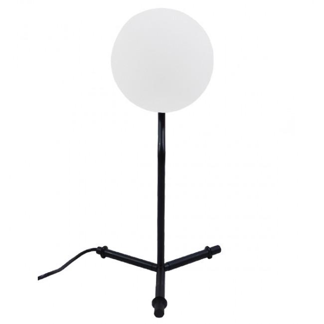 Μοντέρνο Επιτραπέζιο Φωτιστικό Πορτατίφ Μονόφωτο Μαύρο Μεταλλικό με Λευκό Γυαλί Φ23 GloboStar ELFRIS 01100 - 3