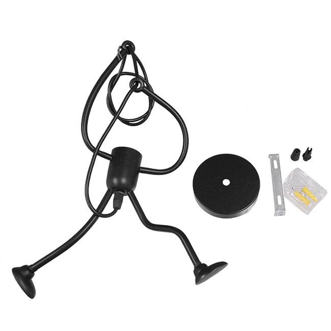 Μοντέρνο Κρεμαστό Φωτιστικό Οροφής Μονόφωτο Μαύρο Μεταλλικό Φ20  LITTLE MAN BLACK 01652 - 7