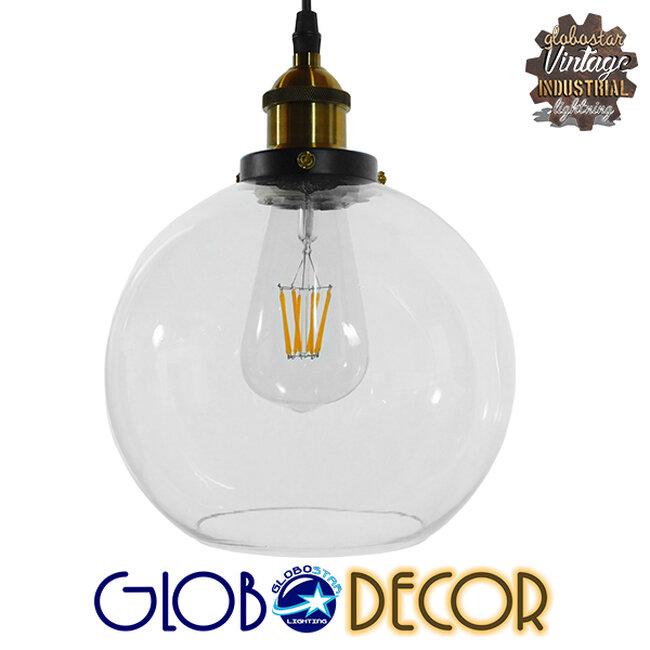 Vintage Κρεμαστό Φωτιστικό Οροφής Μονόφωτο Γυάλινο Καμπάνα Φ18  COLLINS 01170 - 1