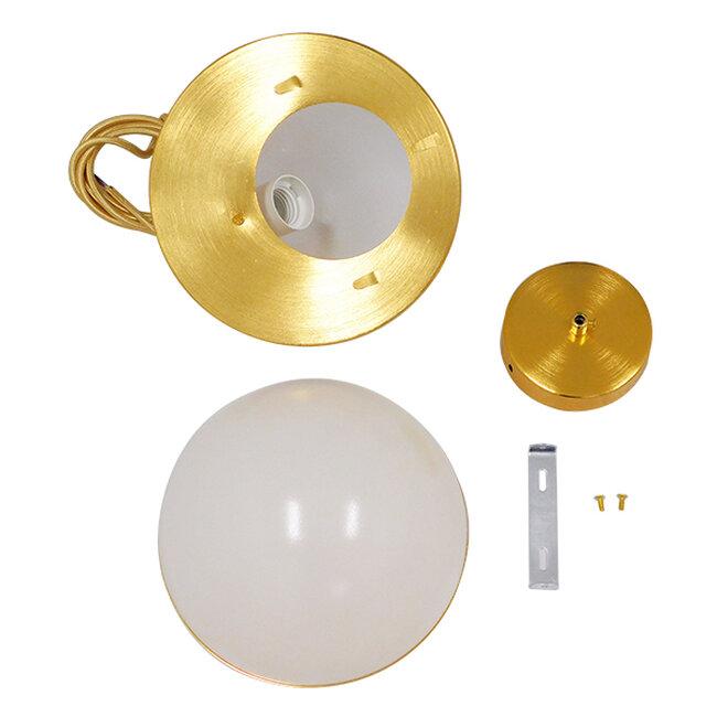 Μοντέρνο Κρεμαστό Φωτιστικό Οροφής Μονόφωτο Λευκό με Χρυσό Φ20  HUDSON 01554 - 9