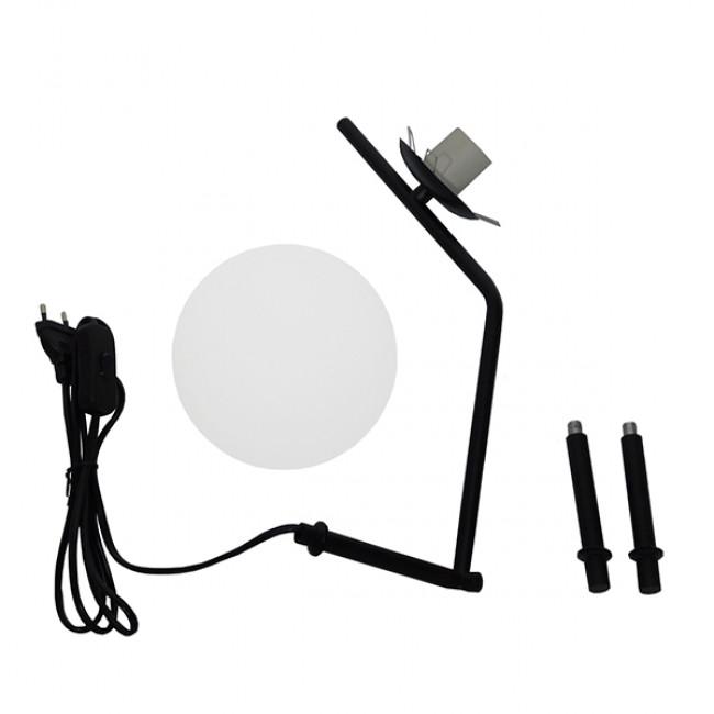 Μοντέρνο Επιτραπέζιο Φωτιστικό Πορτατίφ Μονόφωτο Μαύρο Μεταλλικό με Λευκό Γυαλί Φ23 GloboStar ELFRIS 01100 - 13
