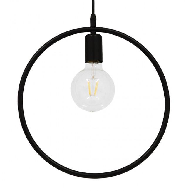 Μοντέρνο Κρεμαστό Φωτιστικό Οροφής Μονόφωτο Μαύρο Μεταλλικό Φ33 GloboStar OMICRON BLACK 01578
