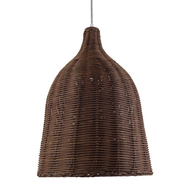 Vintage Κρεμαστό Φωτιστικό Οροφής Μονόφωτο Καφέ Σκούρο Ξύλινο Ψάθινο Rattan Φ30 GloboStar NELLY 01367 - 3