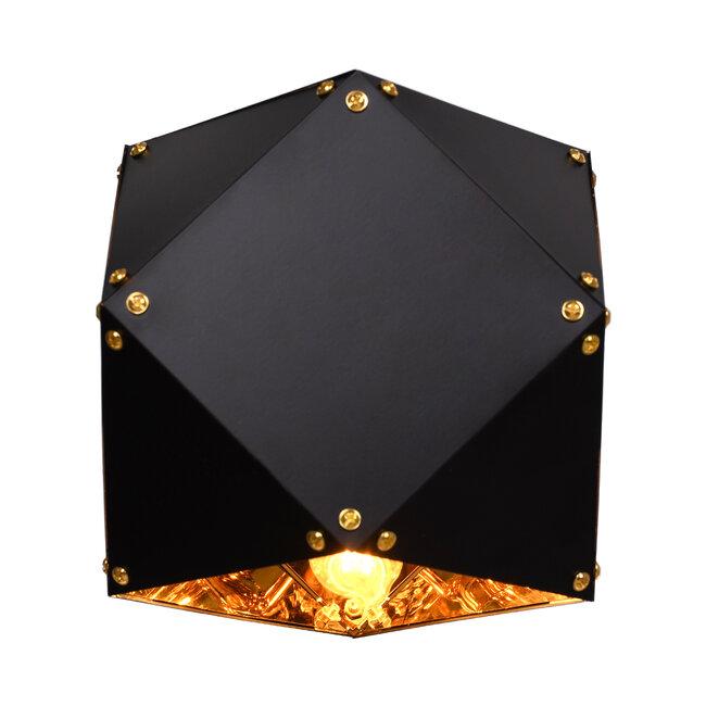 WELLES Replica 00794 Μοντέρνο Φωτιστικό Τοίχου Απλίκα Μονόφωτο Μεταλλικό Μαύρο Χρυσό Μ17 x Π28 x Υ17cm - 4