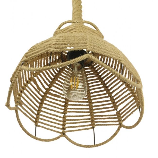 Vintage Κρεμαστό Φωτιστικό Οροφής Μονόφωτο Πλέγμα με Μπεζ Σχοινί Φ34 GloboStar VENIER 01610 - 7