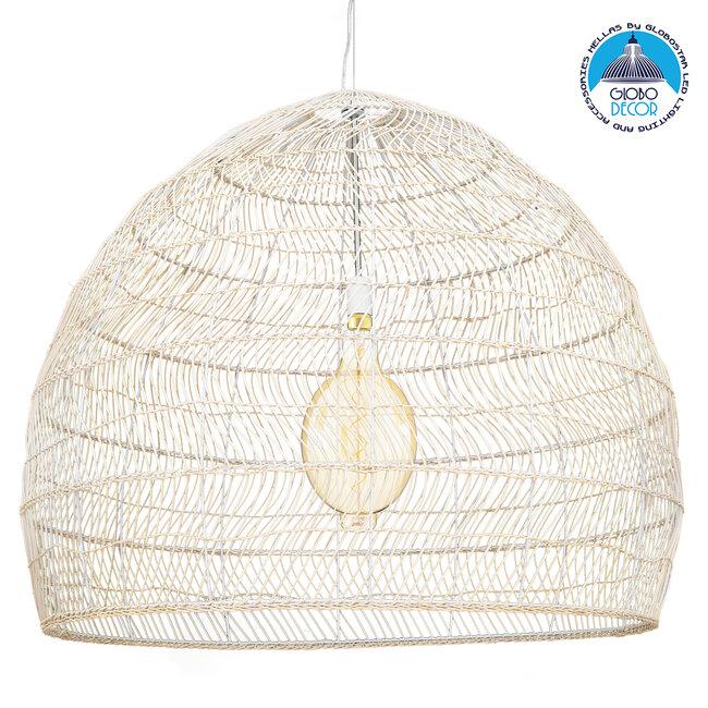 GloboStar® MALIBU 00965 Vintage Κρεμαστό Φωτιστικό Οροφής Μονόφωτο Μπεζ Ξύλινο Bamboo Φ97 x Y86cm - 1