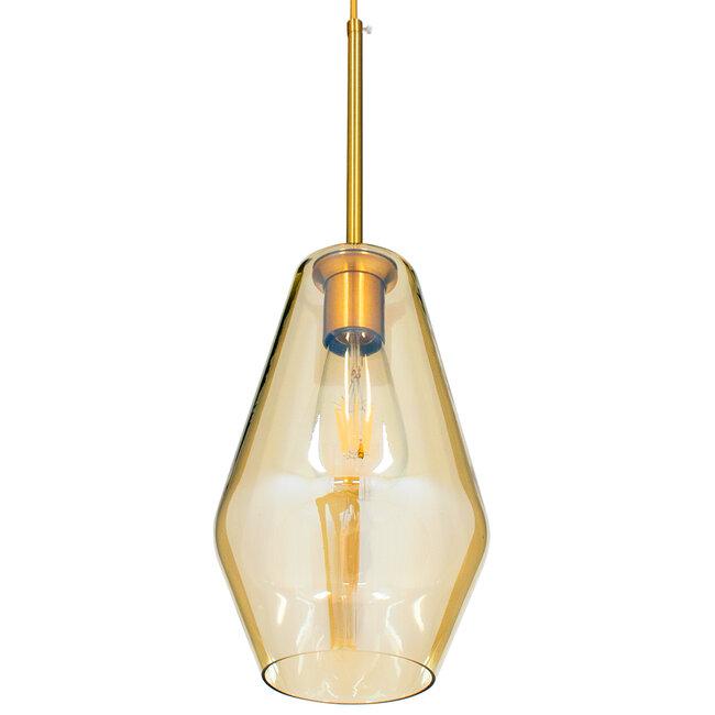 GloboStar® AMARIS 00871 Μοντέρνο Κρεμαστό Φωτιστικό Οροφής Μονόφωτο Γυάλινο Φιμέ Μελί Φ17 x 30CM - 5