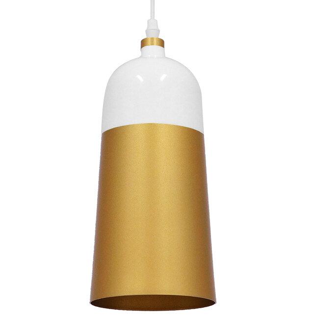 Μοντέρνο Κρεμαστό Φωτιστικό Οροφής Μονόφωτο Λευκό - Χρυσό Μεταλλικό Καμπάνα Φ14  PALAZZO GOLD WHITE 01524 - 2