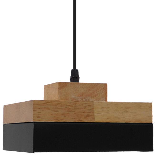 Μοντέρνο Κρεμαστό Φωτιστικό Οροφής Μονόφωτο Μαύρο Μεταλλικό με Φυσικό Ξύλο Καμπάνα Φ18 GloboStar LAOTH 01234 - 6
