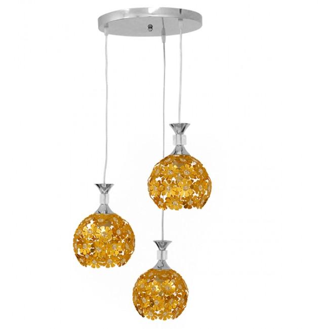 Μοντέρνο Κρεμαστό Φωτιστικό Οροφής Τρίφωτο Χρυσό Μεταλλικό με Κρύσταλλα Φ50 GloboStar MARGARITA 01670 - 1