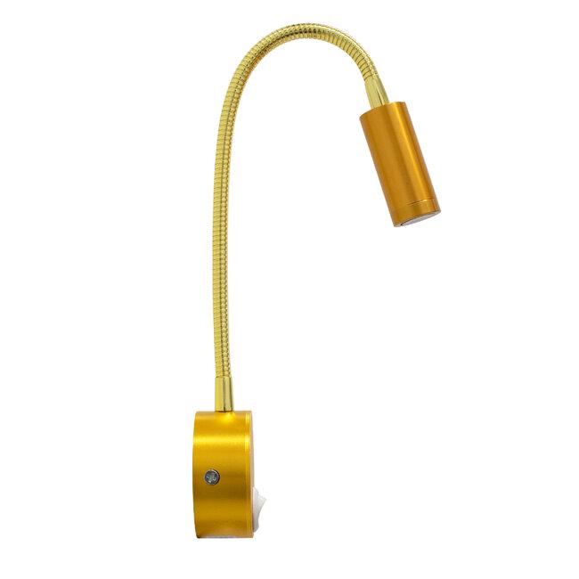 READING 00860 Μοντέρνο Μεταλλικό Φωτιστικό Τοίχου Απλίκα Reading Light CREE LED 3W 300 lm 35° AC 85-265V Μονόφωτο Χρυσό με Ρυθμιζόμενο Σώμα Σπιράλ & Διακόπτη On / Off Θερμό Λευκό 2700 K Μ6. - 4